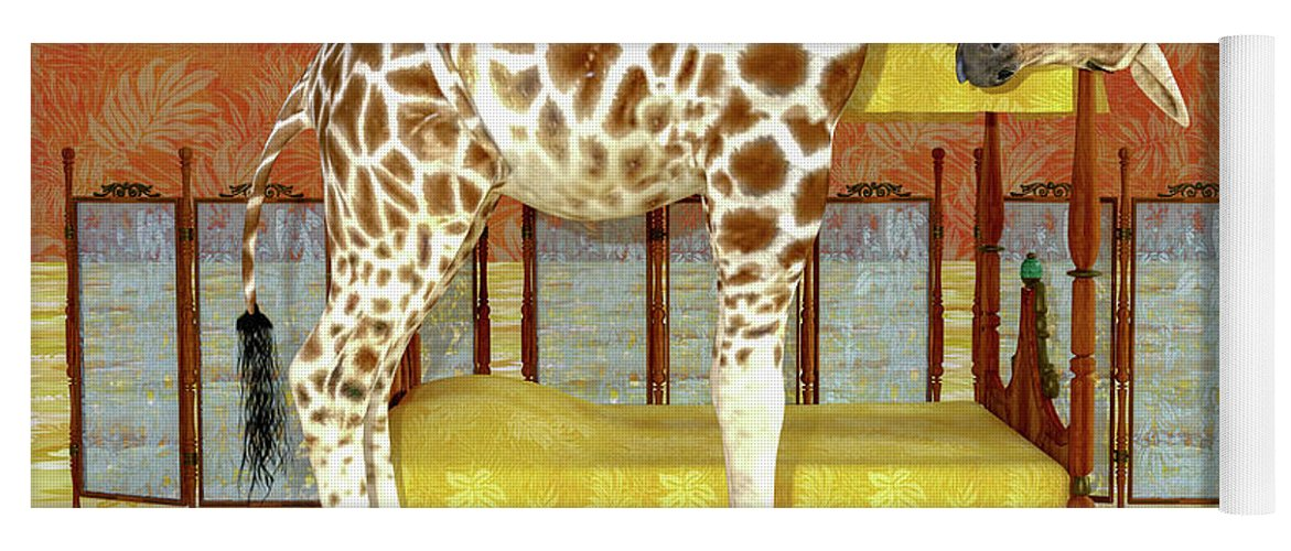 Giraffe Yoga Mat featuring the digital art Ms Kitty And Her Giraffe by Betsy Knapp