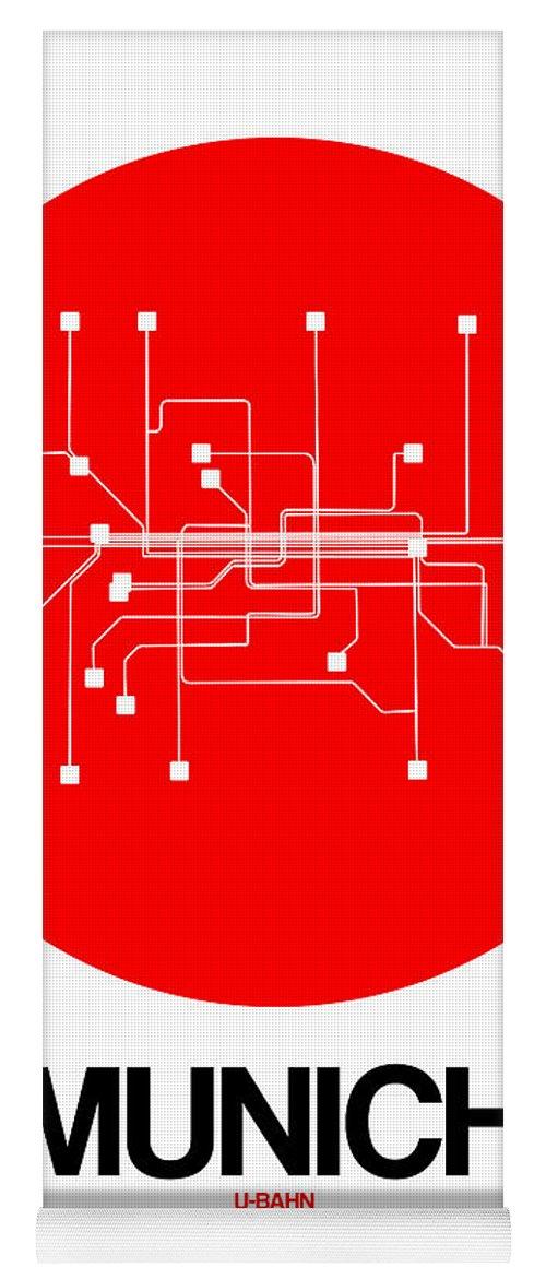Vacation Yoga Mat featuring the digital art Munich Red Subway Map by Naxart Studio