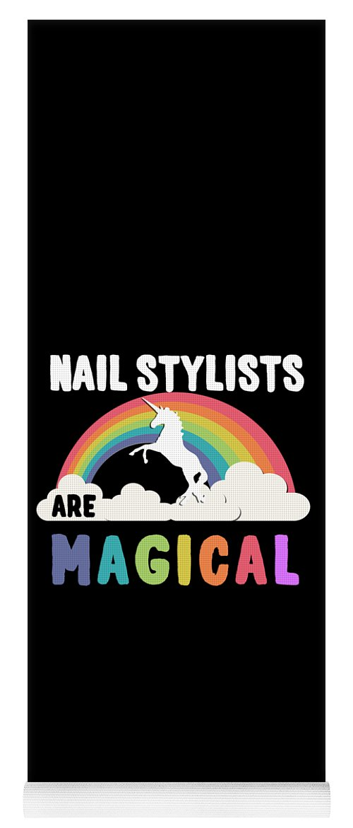 Unicorn Yoga Mat featuring the digital art Nail Stylists Are Magical by Flippin Sweet Gear