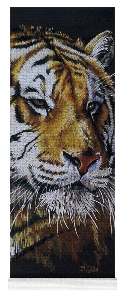 Panthera Yoga Mat featuring the drawing Nanook the Tiger by Barbara Keith