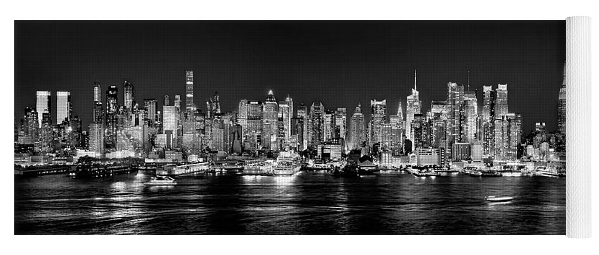 New York City Skyline At Night Yoga Mat featuring the photograph New York City Nyc Skyline Midtown Manhattan At Night Black And White by Jon Holiday