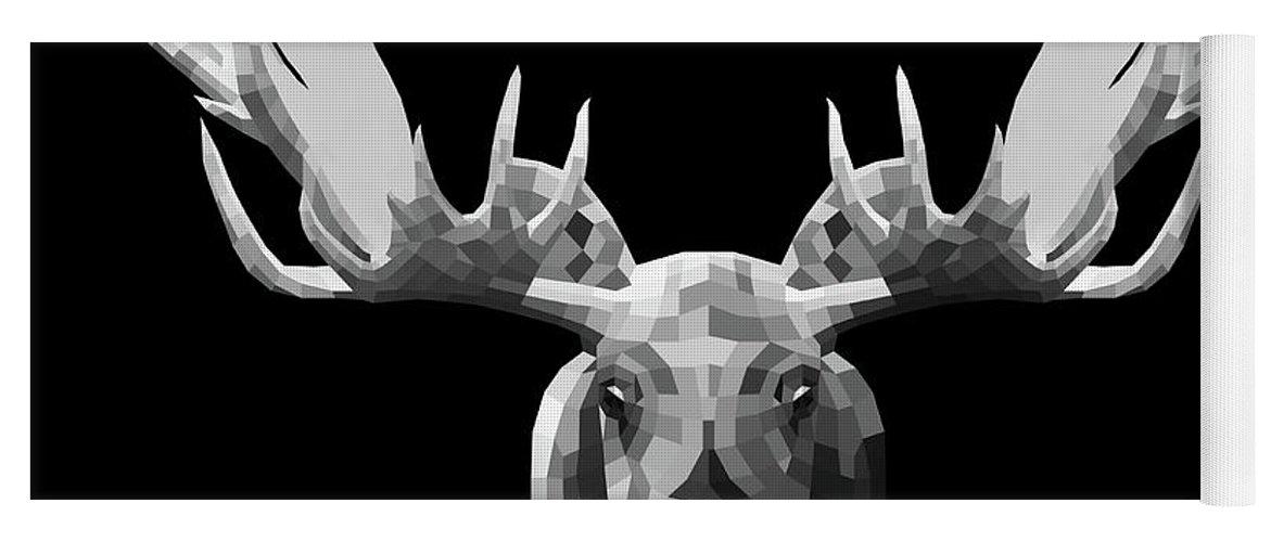 Moose Yoga Mat featuring the digital art Night Moose by Naxart Studio