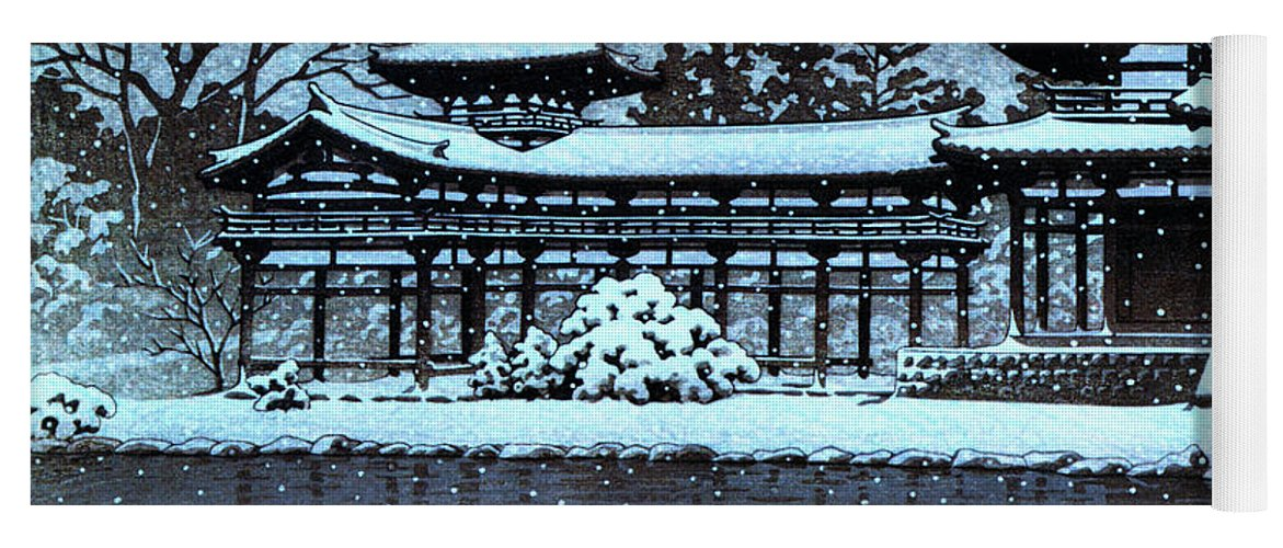 Kawase Hasui Yoga Mat featuring the painting Night Snow In The Houodo - Digital Remastered Edition by Kawase Hasui