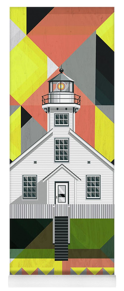 Traverse City Michigan Yoga Mat featuring the digital art Old Mission Point Lighthouse by Garth Glazier