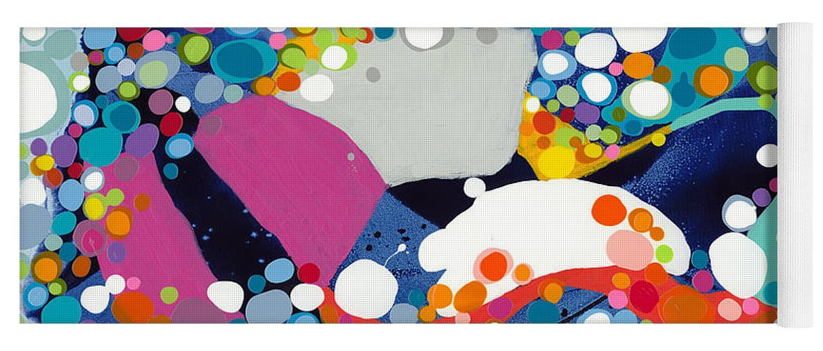 Abstract Yoga Mat featuring the painting On The Up And Up by Claire Desjardins