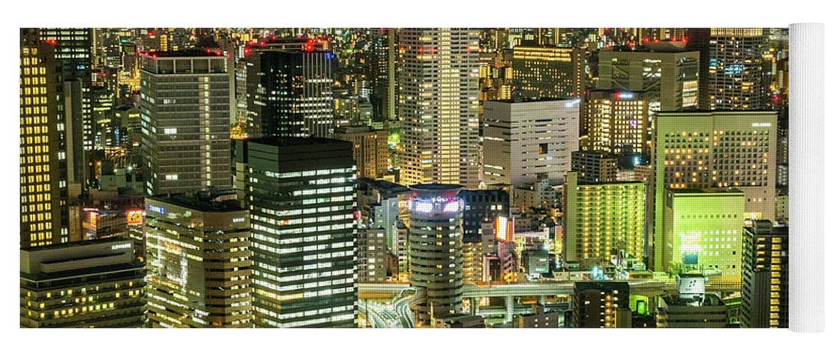 City Yoga Mat featuring the photograph Osaka Skyline, Japan by Fototrav Print