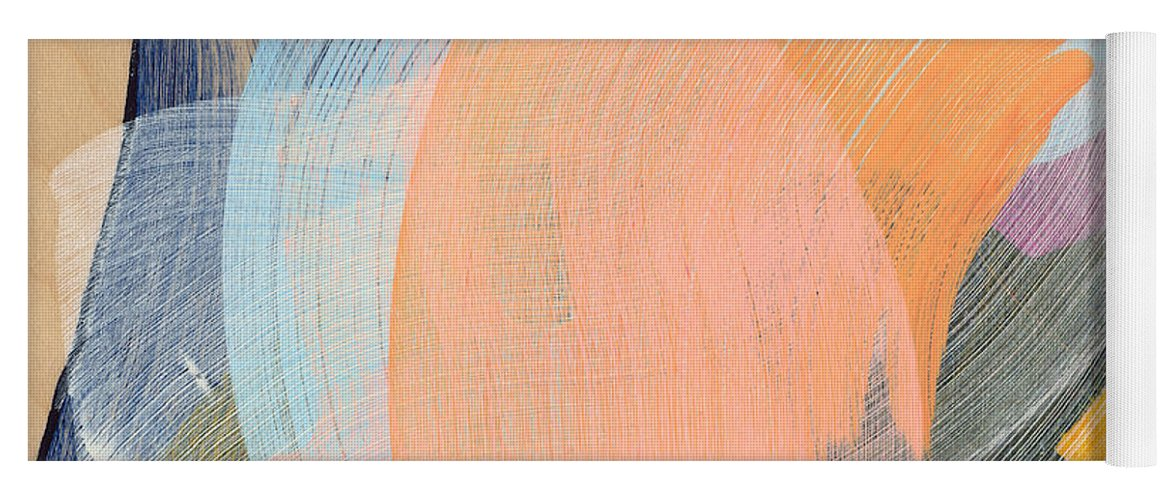 Abstract Yoga Mat featuring the painting Out Of The Blue 02 by Claire Desjardins