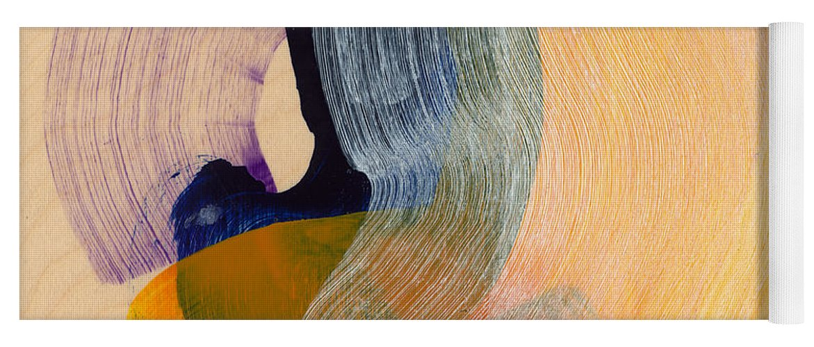 Abstract Yoga Mat featuring the painting Out Of The Blue 04 by Claire Desjardins