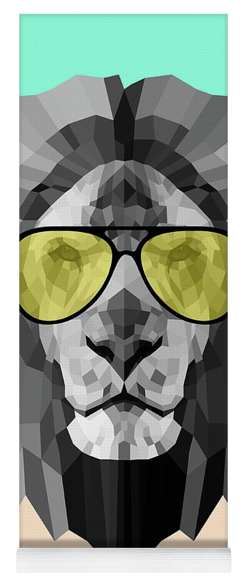 Lion Yoga Mat featuring the digital art Party Lion In Glasses by Naxart Studio