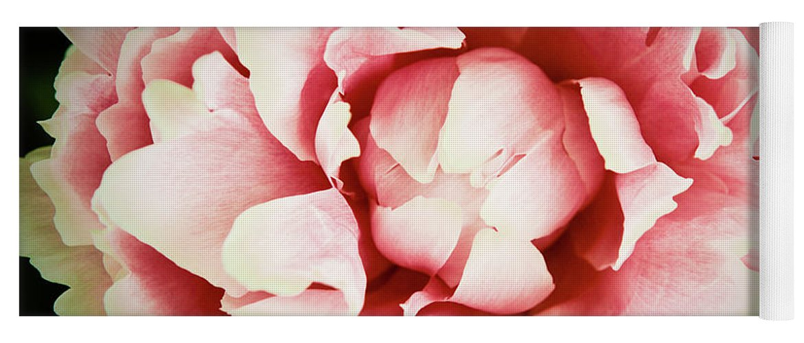 Peach Yoga Mat featuring the photograph Peach Peony by Emily Johnson