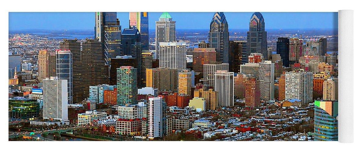 Philadelphia Skyline At Dusk Yoga Mat featuring the photograph Philadelphia Skyline At Dusk 2018 by Jon Holiday