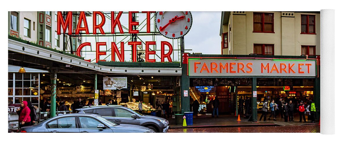 Pike's Place Yoga Mat featuring the photograph Pikes Place Public Market Center Seattle Washington by G Matthew Laughton