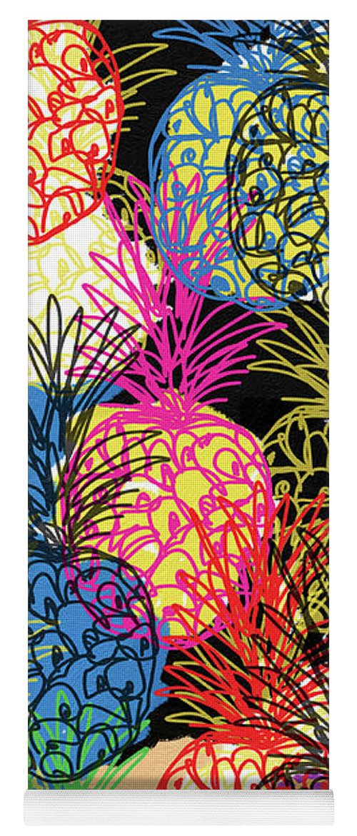 Pineapple Yoga Mat featuring the mixed media Pineapple Party- Art by Linda Woods by Linda Woods
