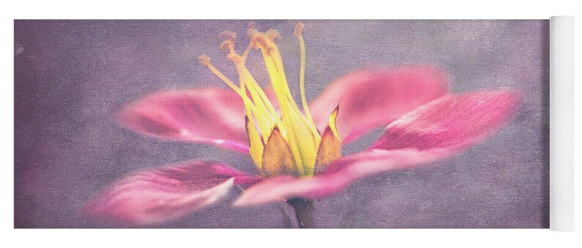 Blóm Yoga Mat featuring the digital art Pink On Purple by G Ben