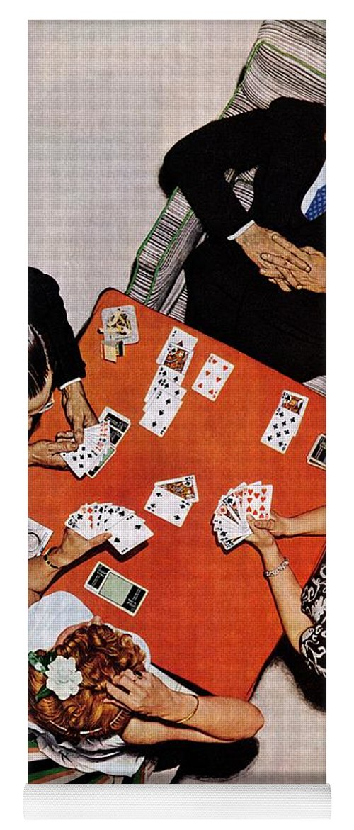 Bridge Yoga Mat featuring the drawing Playing Cards by Norman Rockwell