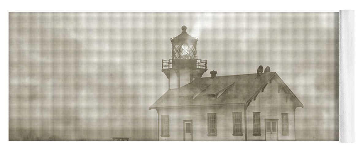 Lighthouse Yoga Mat featuring the photograph Point Cabrillo Lighthouse California Sepia by Betsy Knapp