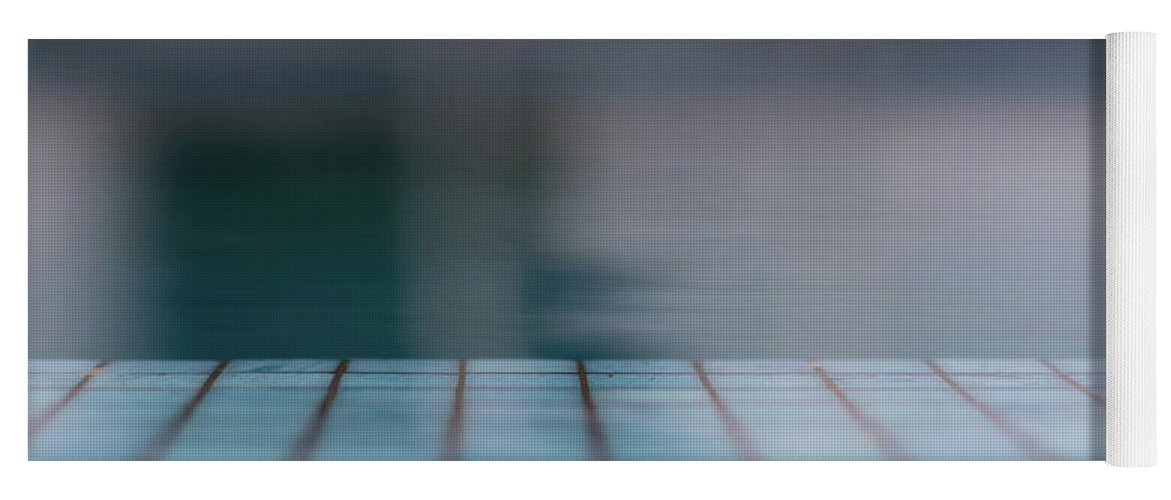 Blue Yoga Mat featuring the photograph Pool And Stripes by Stelios Kleanthous
