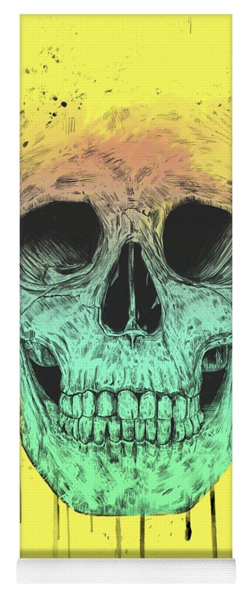 Skull Yoga Mat featuring the drawing Pop Art Skull by Balazs Solti
