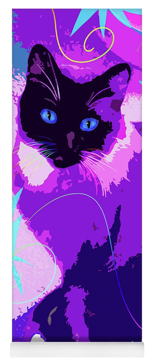 Dizzycats Yoga Mat featuring the painting Pop Cat Cocoa by DC Langer