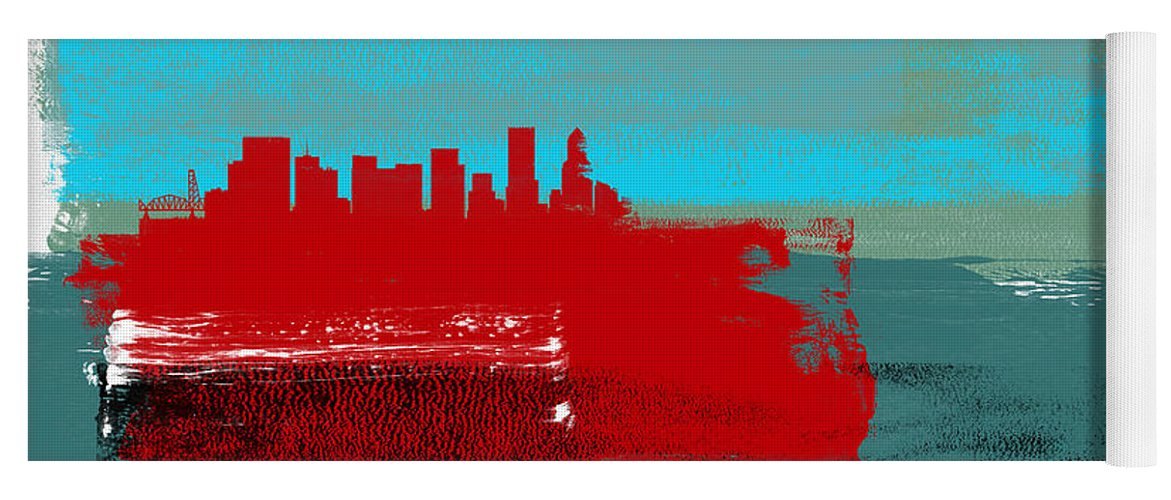 Portland Yoga Mat featuring the mixed media Portland Abstract Skyline I by Naxart Studio