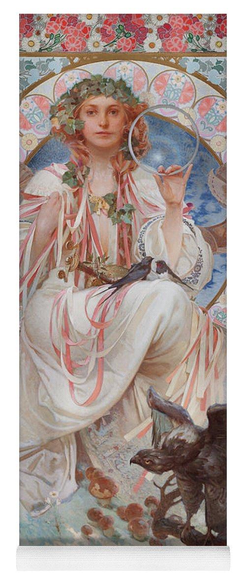 Mucha Yoga Mat featuring the painting Portrait Of Josephine Crane Bradley As Slavia by Alphonse Marie Mucha