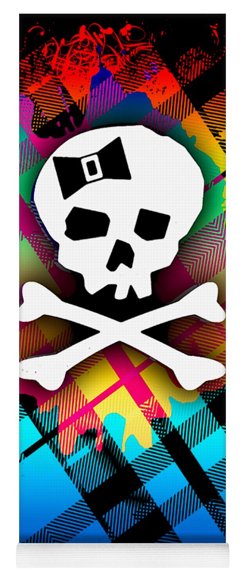 Rainbow Yoga Mat featuring the digital art Rainbow Plaid Skull Graphic by Roseanne Jones
