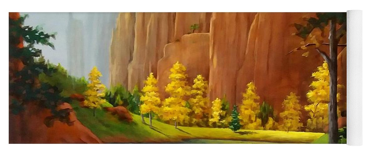 Red Rock Yoga Mat featuring the painting Red Rock Autumn by Danett Britt