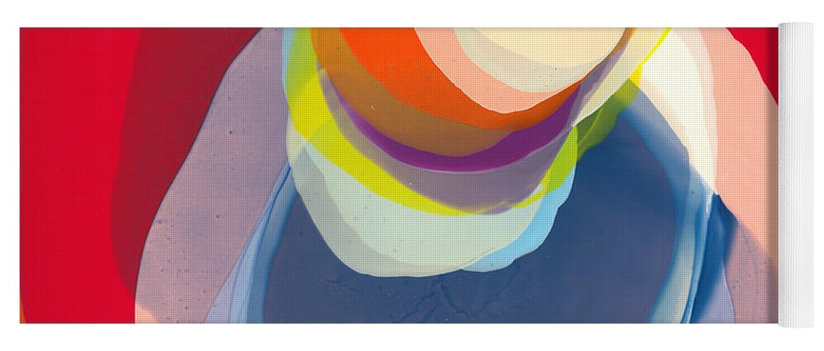 Abstract Yoga Mat featuring the painting Reflective by Claire Desjardins