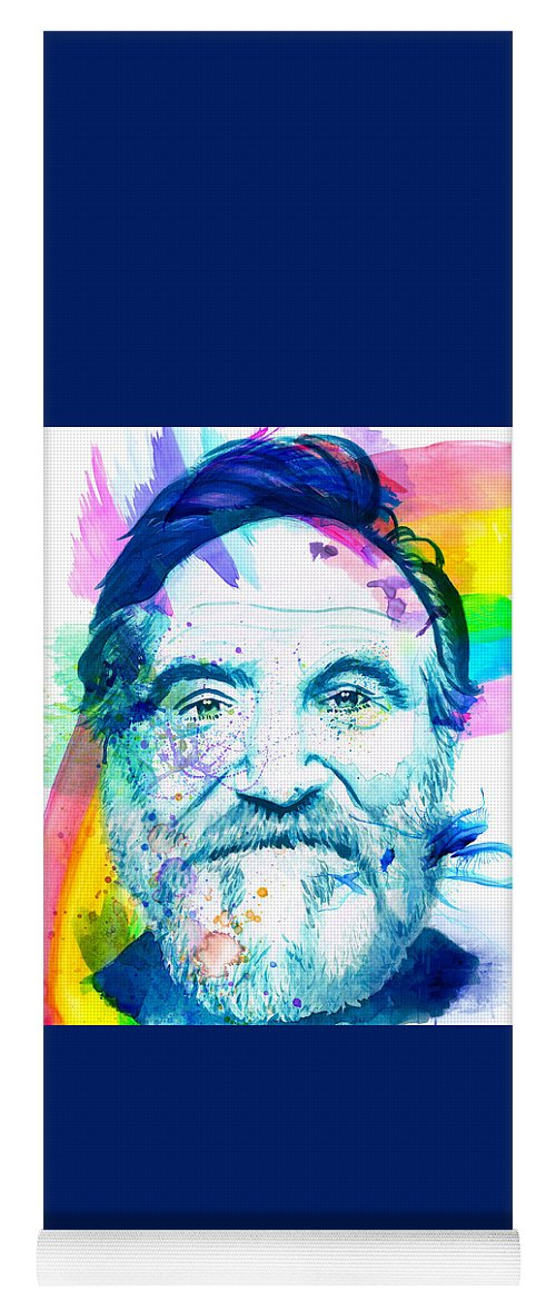 Robin Williams Yoga Mat featuring the mixed media Robin Williams by Kyle Willis