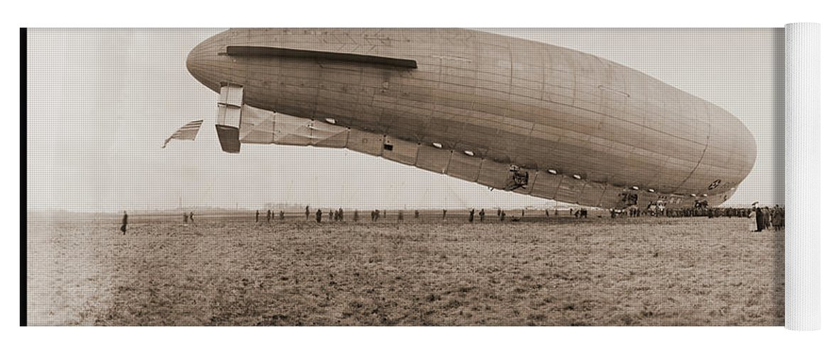 Photography Yoga Mat featuring the photograph Roma Dirigible At Bolling Field Air by Fred Schutz Collection