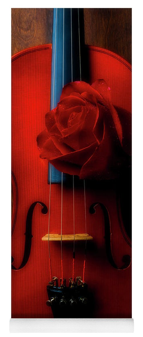 Violin Yoga Mat featuring the photograph Romantic Rose With Violin by Garry Gay