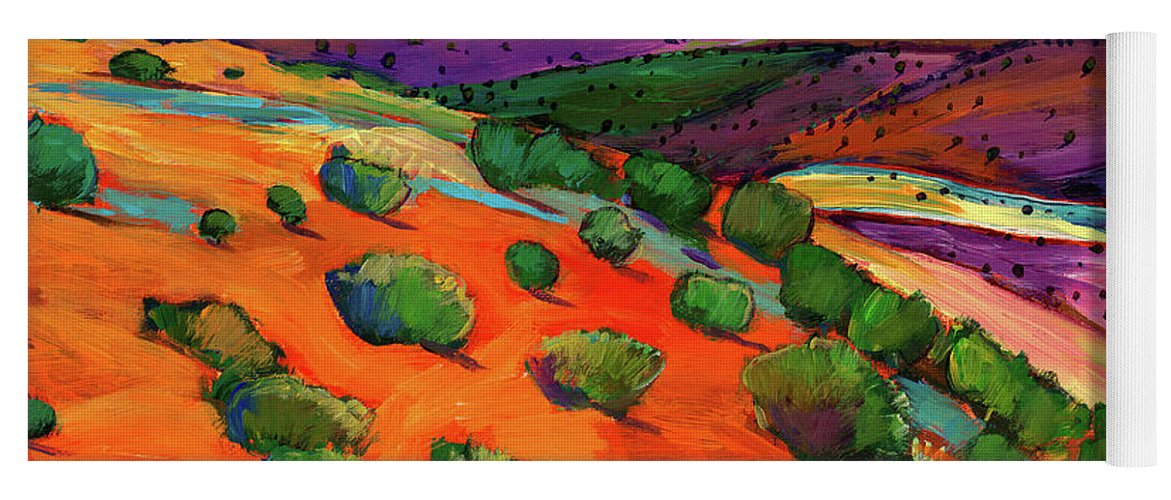 New Mexico Yoga Mat featuring the painting Sage Slopes by Johnathan Harris