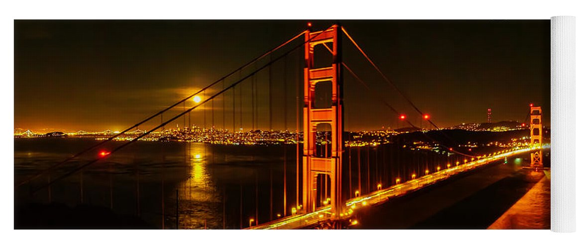 San Francisco Yoga Mat featuring the photograph San Francisco Golden Gate Bridge At Night by G Matthew Laughton