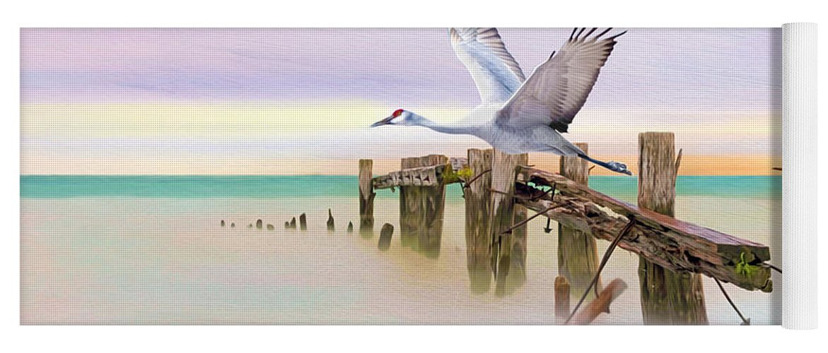 Sandhill Crane Yoga Mat featuring the photograph Sandhill Crane And Old Dock by Laura D Young