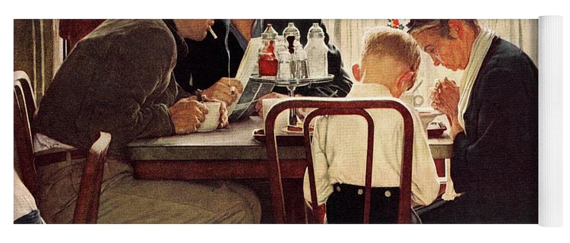 Eating Yoga Mat featuring the drawing Saying Grace by Norman Rockwell