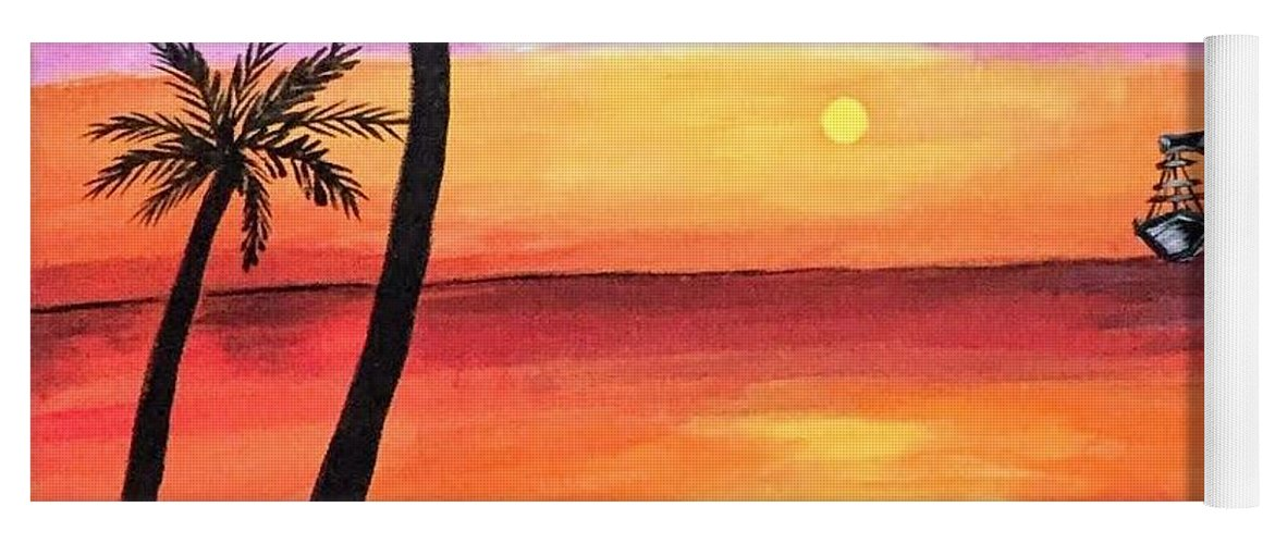 Canvas Yoga Mat featuring the painting Scenary by Aswini Moraikat Surendran
