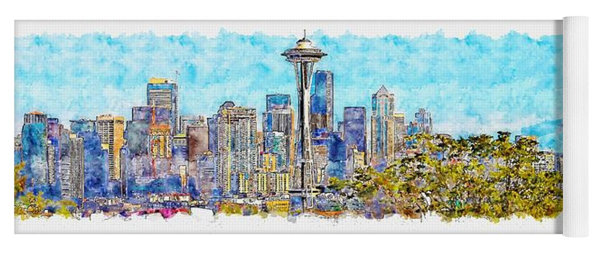 Seattle Washington Yoga Mat For Sale By Artmarketjapan