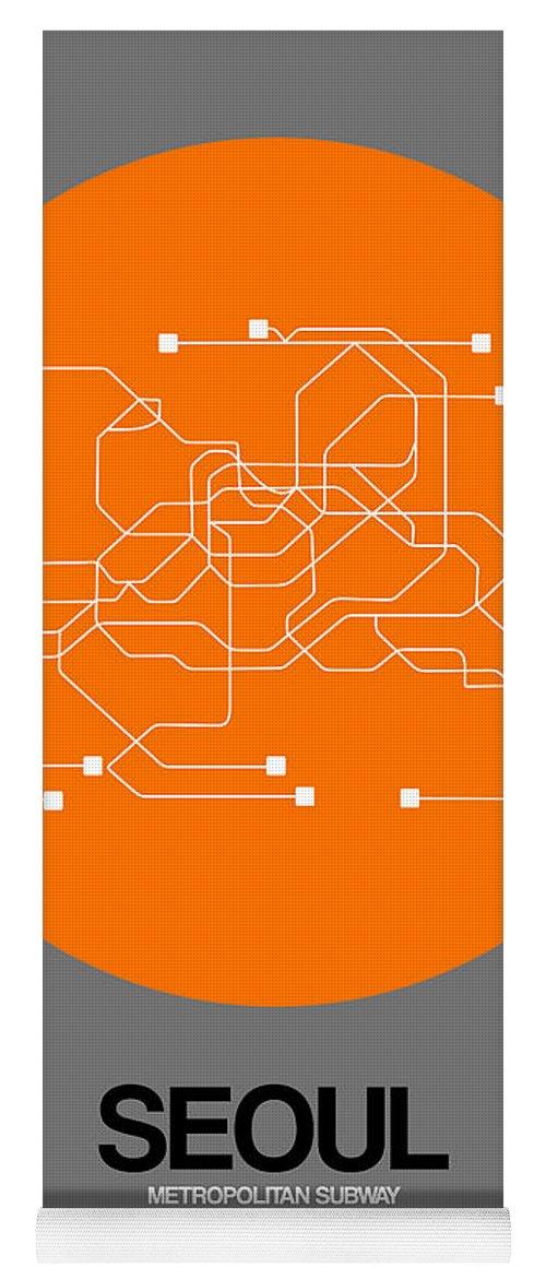 Vacation In Korea Yoga Mat featuring the digital art Seoul Orange Subway Map by Naxart Studio