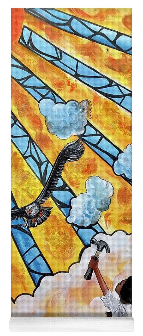 Black Art Yoga Mat featuring the painting Shattered Skies by Artist RiA