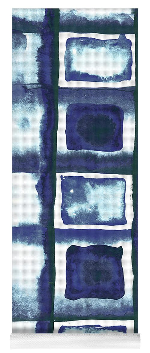 Shibori Yoga Mat featuring the mixed media Shibori Box Pattern II by Elizabeth Medley