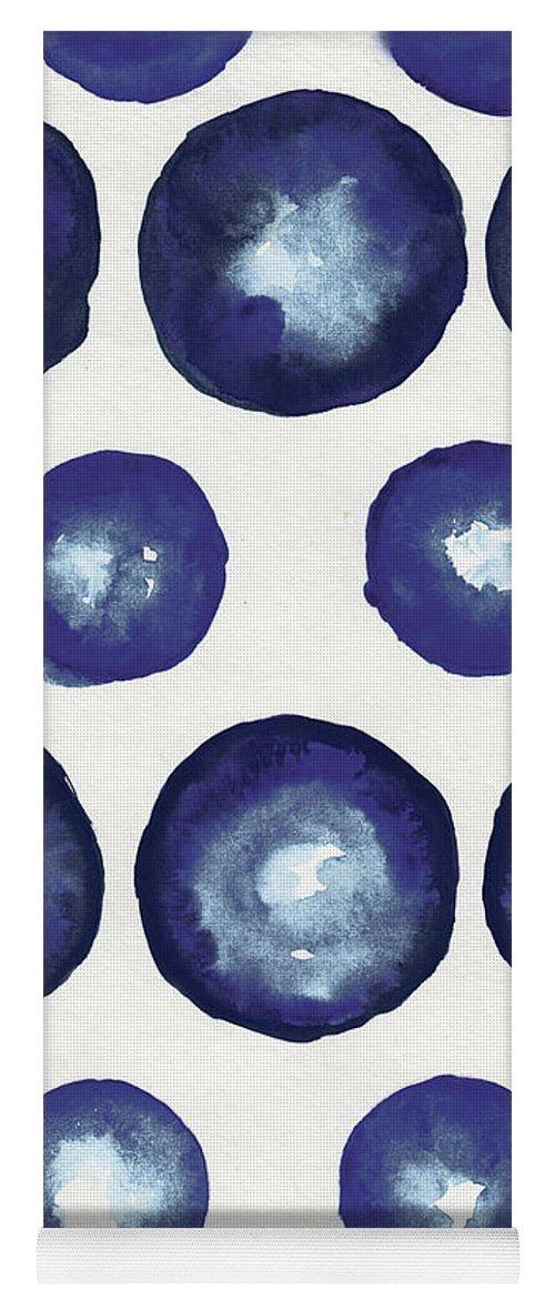 Shibori Yoga Mat featuring the mixed media Shibori Dots by Elizabeth Medley