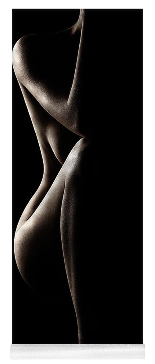 Nude Yoga Mat featuring the photograph Silhouette of nude woman by Johan Swanepoel