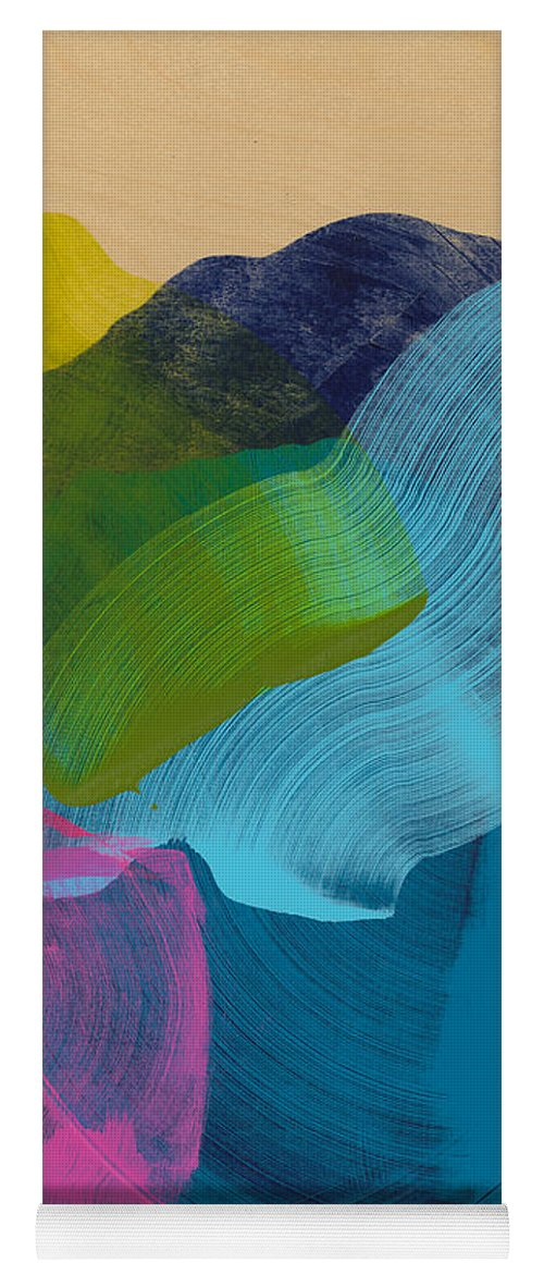Abstract Yoga Mat featuring the painting Socal 02 by Claire Desjardins