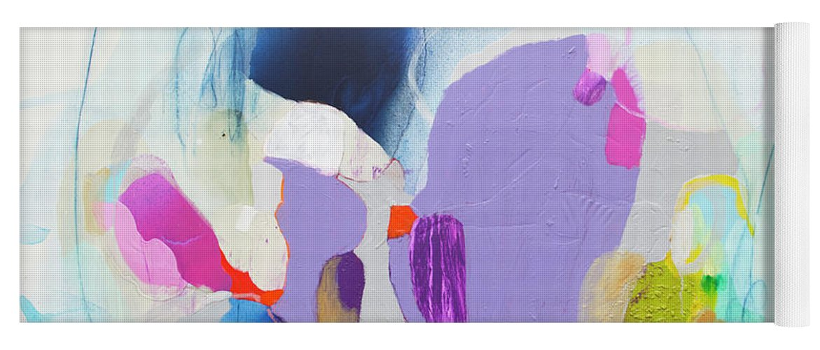 Abstract Yoga Mat featuring the painting Sometime In June by Claire Desjardins