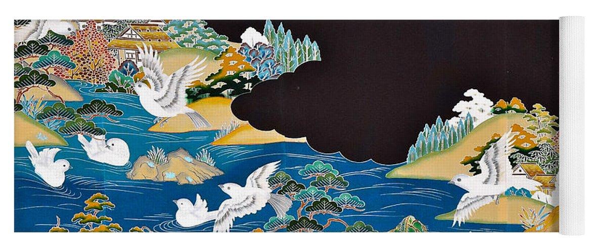 Yoga Mat featuring the digital art Spirit of Japan T44 by Miho Kanamori