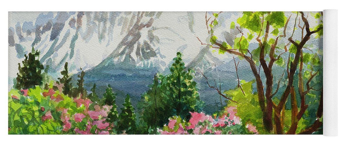 Landscape Yoga Mat featuring the painting Spring In The Wallowas by Steve Henderson