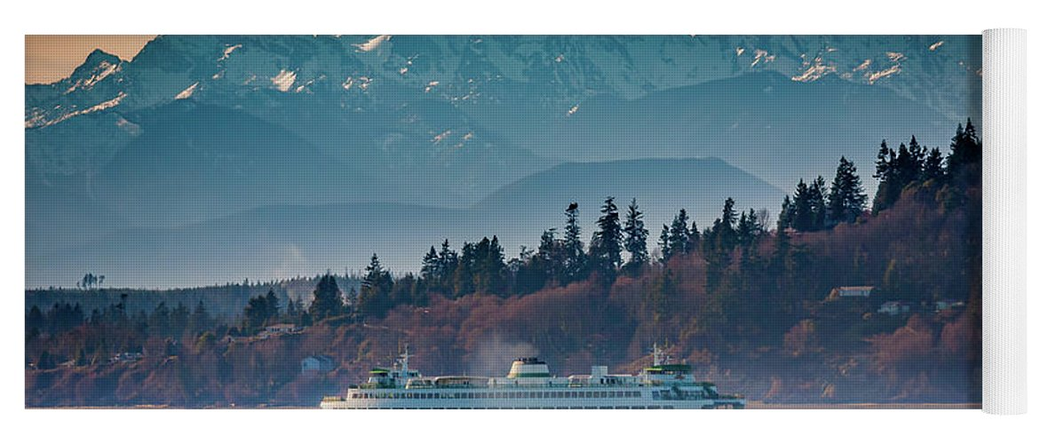 Seattle Yoga Mat featuring the photograph State Ferry And The Olympics by Inge Johnsson