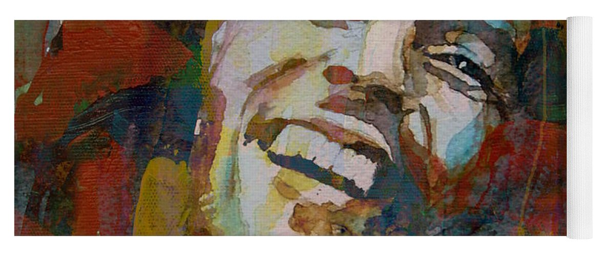 Bob Marley Yoga Mat featuring the painting Stir It Up - Retro - Bob Marley by Paul Lovering