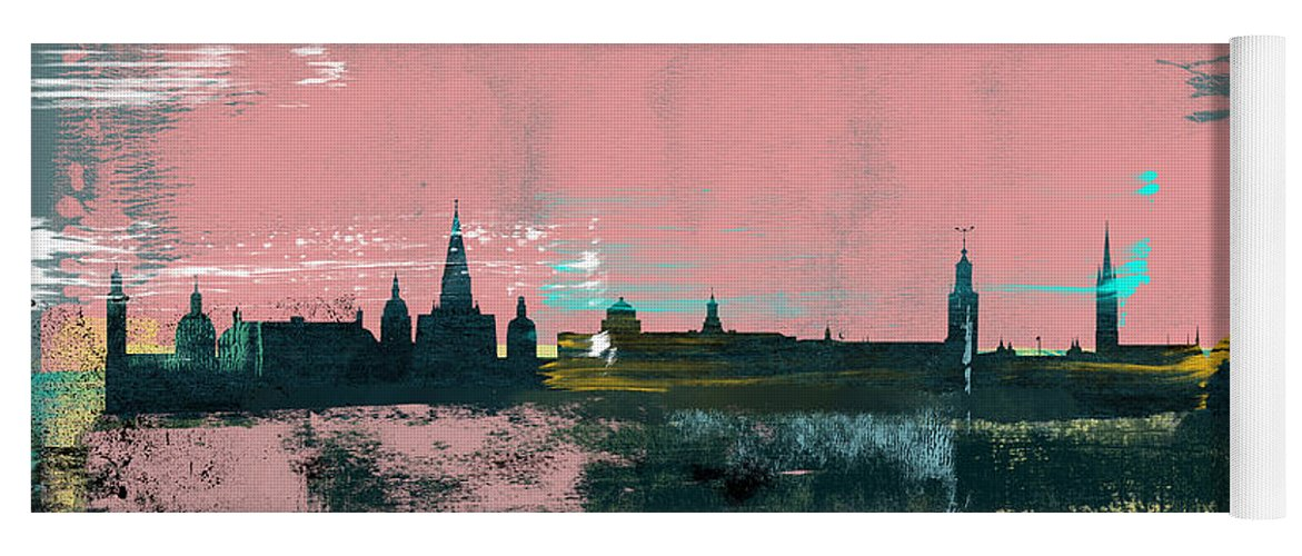 Stockholm Yoga Mat featuring the mixed media Stockholm Abstract Skyline II by Naxart Studio