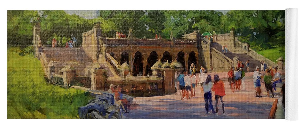 Central Park Yoga Mat featuring the painting Summer Morning On Bethesda Terrace by Peter Salwen